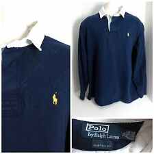 Ralph Lauren Polo Custom Fit Men's L/S Navy Vented Rugby Shirt- Size XL