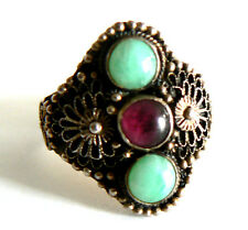 Are Deco Silver Jade & Tourmaline Ring Vintage Antique 碧玺