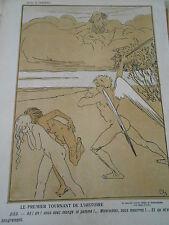 Caricature 1906 Dieu Adam et Eve Le premier tournant de l'histoire