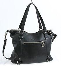 Coach Black Pebbled Leather Satchel Messenger Crossbody Bag Purse F17566