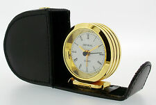 Round Gold Plated Brass Snail Travel Alarm in Black Leather Case