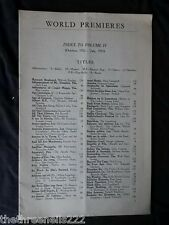 INTERNATIONAL THEATRE INSTITUTE WORLD PREMIER - INDEX TO VOL 4 OCT 1952 to JULY