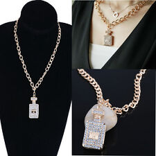 Chunky Inspired Large Gold Plated Crystal Perfume Bottle Necklaces Pendant SA