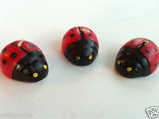 Lot of 6 Lucky Ladybugs Beetle Shaped Candles Red & Black -