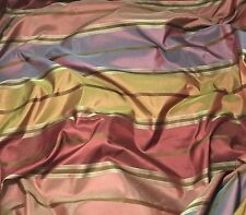 "Red Blue & Gold Stripes - Silk TAFFETA Fabric fat 1/4 18""x27"" remnant"