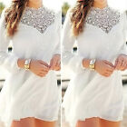 Women Long Sleeve Lace Floral Casual Ladies Cocktail Evening Mini Dress Size S