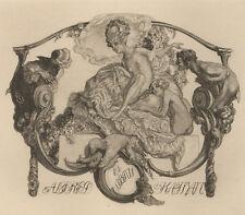 Erotisches Exlibris Franz von Bayros / Kathan Erotic Exotic Nude Girl Helio.