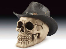 SKULL WITH COWBOY HAT SKELETON FIGURINE STATUE HALLOWEEN