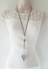 Gorgeous GREY faux leather cord & SILVER tone heart & tassel pendant necklace