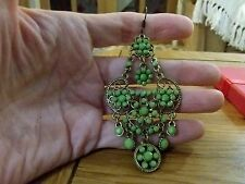 Brand new antique gold look earrings with green stones and gift box