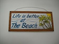 Life Is Better At the Beach Palm Tree Tropical Wooden Wall Art Sign Summer Decor