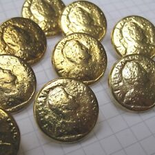 10 Small Gold Roman Emperor Coin Buttons
