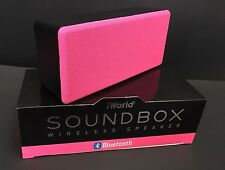 iWorld Soundbox Bluetooth Wireless Speaker Rechargeable LiOn Battery Pink
