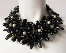 RHOMIR PARIS Black Beads & Pearl Choker Collar Necklace