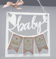 Personalised Wooden laser Cut | Newborn Baby Boy / Girl Plaque | Gift Birth |