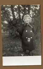 RPPC Darling Little Girl Dress Coat Matching Bonnet Hat Round Cheeks Sweet Smile