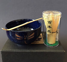 Japanese Namako Dragonfly Matcha Bowl Bamboo Scoop 100 Whisk Tea Ceremony Set