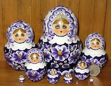 Russian Wood nesting doll 10 Piece Matryoshka hand painted White Purple SIMAKOVA