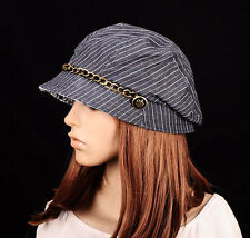 M254 Black Fashion Stripe Cotton Sun Hat Brim Cap Cloche Newsboy Summer Women's