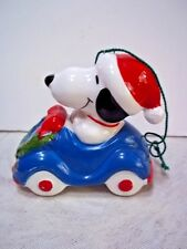 Vintage Snoopy Transportation Blue Car Ceramic Ornament  UFS Excellent