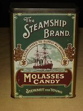 VINTAGE THE STEAMSHIP BRAND MOLASSES CANDY STEWART & YOUNG  TIN CAN