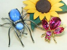 Vintage Pink Rhinestone Jelly Belly MOONSTONE Spider Fly Figural BUG BROOCH Lot