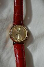 14K GOLD VicencE Round Watch with Leather Croco Strap MILOR ITALY, RED, NICE!!