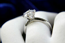 2Ct Round Brilliant Solitare Diamond Wedding Engagement Ring 14k White Gold D VS