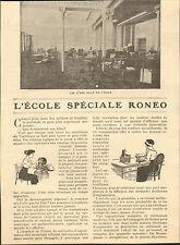 PARIS BD DES ITALIENS ARTICLE DE PRESSE L' ECOLE SPECIALE RONEO 1914