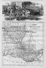 LOUISIANA 1866 MAP WITH DECORATIVE MASTHEAD NEGRO ARKANSAS MISSISSIPPI ALLIGATOR