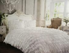 Shabby White Satin Ruffle Double Bed Petticoat Doona Duvet Quilt Cover Set Chic