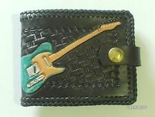 AW LEATHER GOODS BLACK TELECASTER HAND CARVED GUITAR WALLET