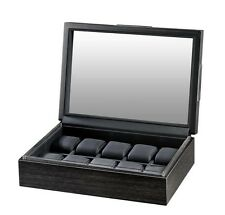 Volta Matte Charcoal Wood Finish 10 Watch Box Storage Chest Case w/ Glass Top