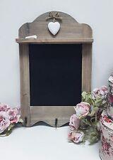 Vintage Shabby Chic De Madera Rustica festoneado corazón Blackboard 3 Ganchos, el borrador para pizarrón