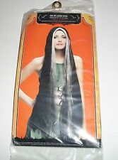 NEW IN PACKAGE HALLOWEEN DRESS UP 36 INCH BLACK WHITE WITCH WIG ADULT ONE SIZE