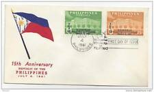 Philippines FDC 1961 Kaarawan Ovpt SC # 841 842 Cachet Cover 15th Anniversary