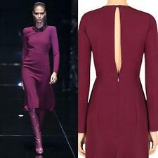 AUTH $2700 Gucci Wine BORDEAX Silk Cady KEYHOLE Open Back DRESS 42/6