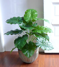 "20"" Tall Palm Bush Artificial Plants Tree 18 Wild Taro Leaves Grass"
