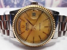 BULOVA SUPER SEVILLE DAY/DATE STEEL AUTOMATIC MEN'S WATCH, GOLD DIAL