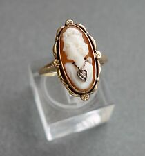 10K Gold CAMEO Ring with Diamond Chip Size 5;D256