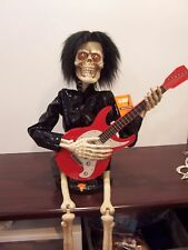 "Halloween Party prop decoration Skeleton playing banjo animated musical 37"" tall"