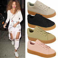 Ladies Womens Creepers Pumps Trainers Lace Up Platform Flatform Shoes