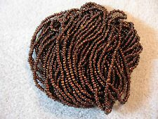11/0 HANK SILVER LINED ROOT BEER BROWN CZECH GLASS SEED BEADS