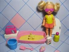 barbie KELLY DOLL BEACH FUN-SANDBOX CASTLE FOOD SWIMSUIT CLOTHES SUNGLASSES SET