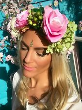 BIG PINK ROSE VERDE Ortensia Fiore Corona Ghirlanda per capelli Head Band Choochie Choo