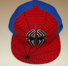 Spiderman New Era Cap Hat Fitted 7 1/2 Web Marvel Comic 59Fifty Under Visor Logo