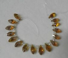 16pcs Set of 13x6mm AB Color Brown Crystal Faceted Top Side Drilled Beads