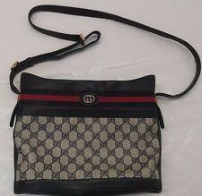 Vtg 80s Gucci Monogram Crossbody Bag Signature Navy/red Stripe Purse 0011090579