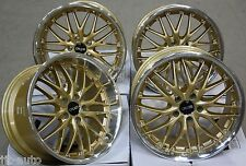 "18"" CRUIZE 190 STAGGERED DEEP DISH ALLOY WHEELS GOLD POLISHED BREMBO CLEARANCE"