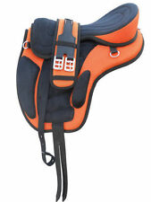 "All Purpose Freemax Synthetic Treeless Saddle Orange/Black 17""+ Matching Girth"